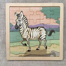 Zebra Puzzle Wooden 20 Pieces Decorative Cartoon Zebra Graphic Wood Frame Thick