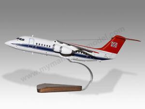BAe 146-100 RAF Queens Flight ZE702 Solid Wood Replica Airplane Desktop Model