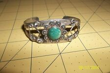 Native American Signed KIK-A-POO Sterling Silver Beaded Turquoise Cuff Bracelet