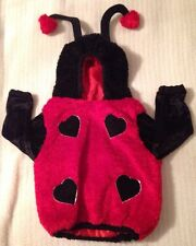 Hooded Plush Ladybug Costume 1 piece with Hearts for dots 24 Months Halloween