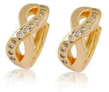 Elegant 18 k Gold Plated with White Zircons Wave Earrings for Women Hoops E712