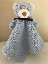 Bean Sprout Teddy Bear Security Blanket Lovey Blue Brown Sherpa Satin