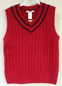 New W/Tags Janie and Jack Holiday Classic Red Sweater Vest Boy's Size 6