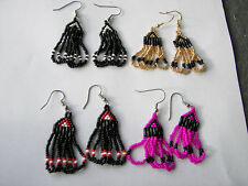 "Seed beaded Earrings Handcrafted 4 pairs looped  1 1/2 "" magenta/gold/black/red"