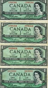 4 PC. CANADA 1954 $1 NOTES..STARTS@ 2.99