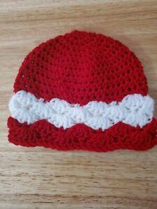 New! Handmade Crochet Baby Beanie  - 0 - 3 months, red hat, white stripe