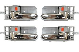 Inner Inside Door Handle Gray with Chrome Lever Front Rear Left Right Set of 4