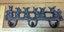 Cast Iron BUNNY RABBIT Towel Coat Hooks Key Rack Garden cat dog leash hook keys