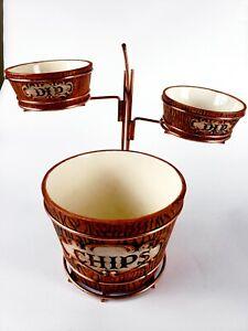Chip And Dip Bowls Made In Japan Midcentury Modern Vintage Brown Metal Stand