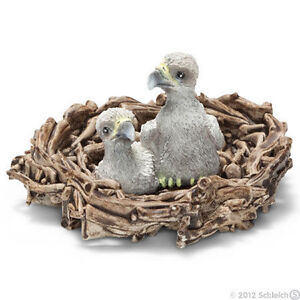 NEW SCHLEICH 14635 Baby Bald Sea Eagle Chicks in Nest - RETIRED
