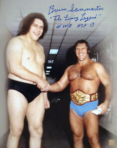Bruno Sammartino Autographed Signed 16x20 Photo w/ Andre The Giant ASI Proof
