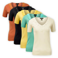 Womens Ladies V-Neck Knitted Top Short Sleeve Beaded Party Casual T-Shirt Blouse