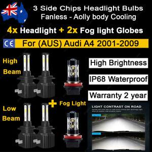 For Audi A4 2001-2009 6x Headlight Fog light Globes high low beam White LED bulb