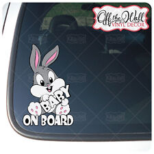 "Baby Bunny ""BABY ON BOARD"" Sign Vinyl Car Decal Sticker"