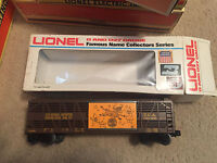 LIONEL TRAIN  0 AND 027  GAUGE TANK CAR WITH BOX FAMOUS NAME SERIES