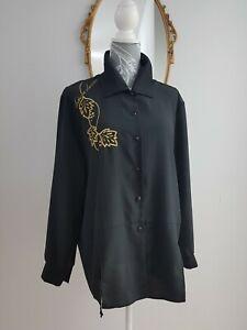 Vintage 80s Retro Blouse Black Satin Gold Embroidered  split hem Size 16