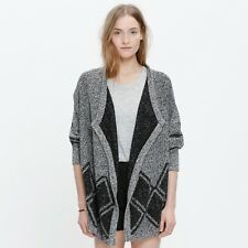 madewell all angles open cardigan sweater diamond pattern drapey marled XS S
