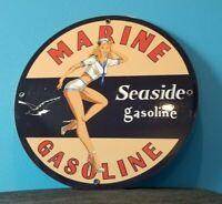 VINTAGE SEASIDE MARINE GASOLINE PIN UP GIRL PORCELAIN SERVICE STATION RACK SIGN