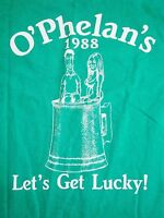 Vintage O'Phelan Pub Killeen St Patrick's Green Get Lucky Sexy Beer T Shirt XS