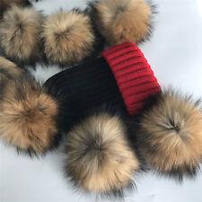 "13cm 5"" Real Geniune Raccoon Fur Pompom Ball w Snap Button DIY Beanie Hat Cap"