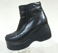 Vtg 90s Black Leather Lined Goth Punk Club Kid Rave Platform Ankle Boots 5-5.5