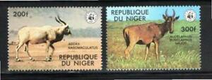 KL6196 1978 Niger #451-2 $18.00 2 Different WWF Horned Animals XF Mint NH