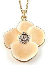£30 Art Nouveau Gold Peach Flower Pendant Necklace Swarovski Elements Crystal