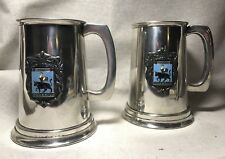 Set Of Cock And Bull English Pewter Tankards/Mugs