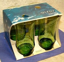 Vintage 1970`s Libbey Apollo Forest Green 13oz Tumblers Set of 4 NIB Made in USA