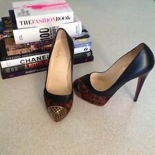 Christian Louboutin Heels 35.5 MAGGIE Leopard Pony Platform Metal Toe Pump Shoes