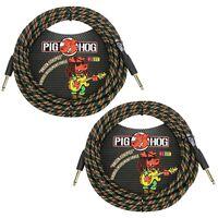 """2-Pack Pig Hog Vintage Instrument Guitar Bass Cables 1/4"""" TS Rasta Stripes 20 ft"""