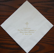 50 Personalised napkins 40x40cm 3ply First Holy Communion