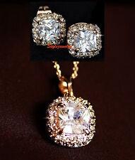 Rose Gold Filled Made with Swarovski Crystal Princess Square Bridal Set N60XE3