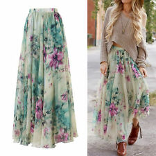 New Women Chiffon Floral High Waist Maxi Dress Skater Flared Pleated Long Skirt