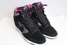 Nike Dunk Sky Hi Suede Lace Up Wedges Black Women's Size 10 Great 543258-001