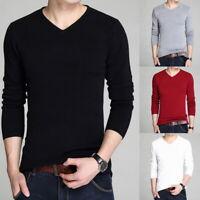 Men's V-Neck Slim Fit Knitted Pullover Long Sleeve Plain Jumper Sweatshirt Tops