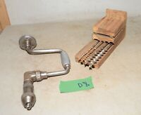 Rare Stanley 929 aluminum handle brace & Russell Jennings auger bit tool lot  D8