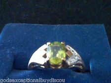 10K PERIDOT WEDDING ENGAGEMENT RING LAST SZ 6 SIZEABLE AUGUST BIRTHSTONE