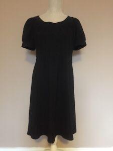 Zara Little Black Dress LBD Empire Waist Short Sleeve Fit Flare Size S