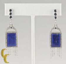 Pendientes de joyería azules de oro blanco de 18 quilates