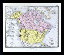 1877 Dumas-Vorzet Map - North America  United States Canada Russia Alaska Arctic