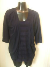 Navy Blue Thin Sweater Set Twinset Cotton Cashmere TSE 3/4 Sleeves Medium M