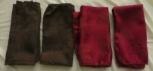 """Cloth Napkins, 17"""" square - 2 Burgundy and 2 Brown with Fall Leaves"""