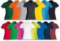 Polo Maglietta Donna T-Shirt 100% Cotone Con Colletto Manica Corta Slim Fit