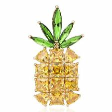 Pineapple Fruits Yellow Green CZ Stone Crystal Brooch Pin Gold Plated Brass X286