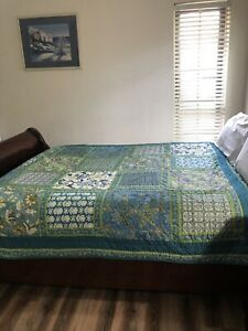 """The Company Store Twin Size Cotton Quilt Boho Patchwork Throw 66x86"""" EUC"""