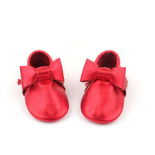 Starbie baby Moccasins red Bow baby shoes toddler moccasin infant girls shoes