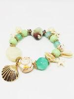 Bracelet Bijoux femme Fantaisie Vert Doré en Perle Coquillage Bois NEUF ref 17