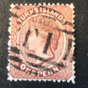 TURKS ISLAND, SCOTT # 4, 1p. VALUE LAKE 1873-79 WMK STAR QV ISSUE USED