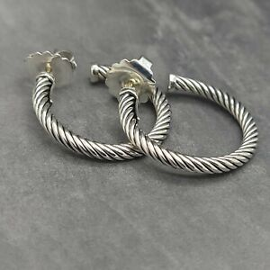 """David Yurman Classic Cable 1"""" Inch Crossover Hoop Sterling Silver Small Earrings"""